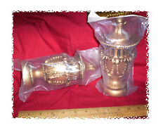 """CURTAIN FINIALS KING CROWN style ANTIQUE GOLD 7-1/2"""" for 3"""" POLE ROD. Sealed 2pc"""