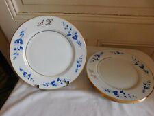 La Seynie 6 Plate Dessert Flower Blue Braid Gold Porcelain Limoges Brissac