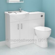 Bathroom Vanity Unit Back to Wall Toilet and Sink Cabinet Furniture Suite & Seat