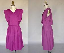 Vintage 80s Hot Pink Fuchsia Cotton Skirt Crop Top Set Buttons High Waist Dress