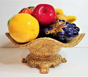 Large Ceramic Fruit Basket Centerpiece One Pc Highly Glazed See All Pics