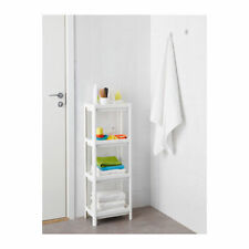 White 4 Tier Free Standing Bathroom Unit Shelves Organiser Home Storage Display