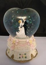 """Classic Treasures Musical Wedding Waterglobe Heart Shaped Plays """"Nocturne"""""""