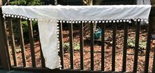 Vintage curtains tiers valances tiebacks ivory pom pom trim
