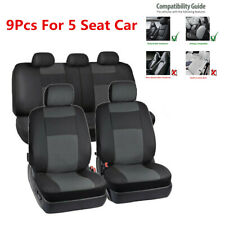 9Pcs 5-Sits Car Seat Cover PU Leather Front Rear Set Universal Auto Accessories