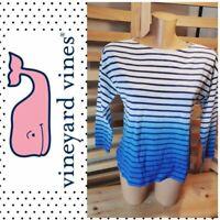 Vineyard Vines Women's Blue/White Striped Cotton 3/4 Sleeve T-Shirt SZ S! EUC!