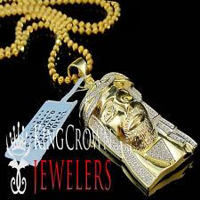 Yellow Gold Finish Real Diamond Micro Mini Jesus Face Piece Pendant Charm 1.55''