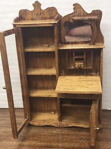 Dollhouse Miniature Oak Side by Side Secretary Desk Reminiscent 1:12 Scale