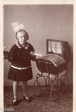 BM043 Carte Photo vintage card RPPC Enfant mode fashion poussette landau