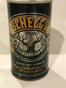 1970s SCHELLS  STEEL BOTTOM OPENED PULL TAB BEER CAN NEW ULM MN