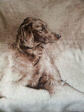 Vntg Biederlack THROW BLANKET Dog Retriever Sara Moon Brown Reversible 57 x 76