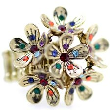 Vintage retro style plum blossom cluster flower stretch ring