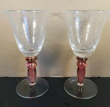 2 Hand Blown Mexican Art Tall Clear Pink Stem Heavy WINE Bubble Glass RARE