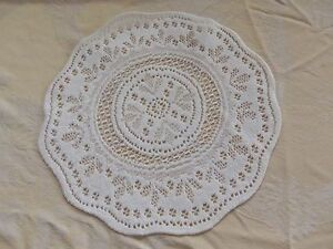 """White lace table Doily 11""""round set of 2"""