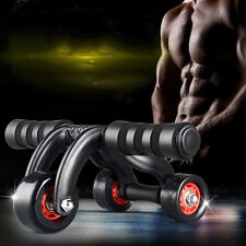 Three Wheel Roller Abdominal Home Gym Fitness Workout Exerciser Sports Equipment