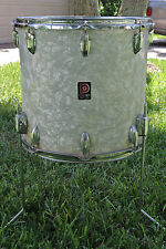"ADD this VINTAGE PREMIER 16"" WHITE MARINE PEARL FLOOR TOM to YOUR DRUM SET! A372"