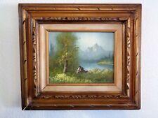 J. Sanders Signed Oil Painting on Canvas Landscape in Original Vintage Frame