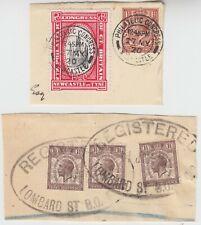 1920 PHILATELIC CONGRESS NEWCASTLE label & 1929 POSTAL UNION CONGRESS 3x 1.5d