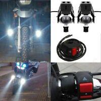 125W U5 Motorcycle LED Headlight Driving Fog Lights Spot Lamps + Switch 2Pcs