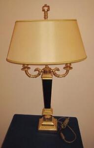 "Versace MEDUSA Classic Gold, Black Wood Oval Shade 2 Light Bulbs Table Lamp, 31"""
