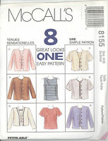 McCall's 8155 Misses' Top and Jacket in Two Lengths   Sewing Pattern