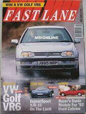 Fast Lane 05/1992 featuring VW Golf VR6, Lancia Integrale, Jaguar XJR-15, Nissan