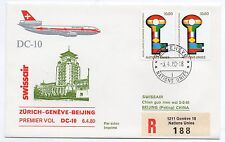 1980 NATION UNIES SWISSAIR DC-10 VOLO ZURICH-GENEVE-BEIJING C/1558