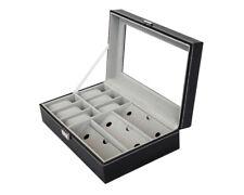 PU Leather 6+3 Slot Watch Sunglass Eyeglasses Display Box Case Storage Organizer