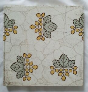 arts and crafts ANTIQUE 19TH CENTURY TILE, 6 INCHES SQUARE