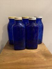Vintage Lot Of 5 Blue Medicine Bottles Screw Lids Decorative Staging