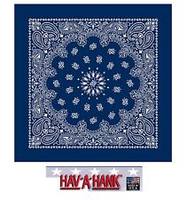 *USA MADE Hav-A-Hank NAVY BLUE PAISLEY Bandana BANDANNA SCARF Scarve Head Wrap