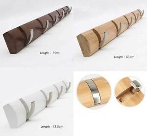 Bamboo base metal hook coat hanger. bag & key hook, three color, 4/5/6 hooks