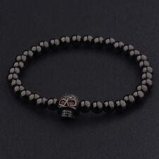 5mm Black Copper Beads Skull White CZ Micro Pave Zircon Braiding Yoga Bracelets
