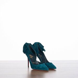 CHRISTIAN LOUBOUTIN 995$ Rabakate 100 Pump In Capitaine Blue With Bow At Back