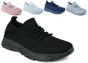 Womens Ladies Comfy Running Sneakers Trainers Slip On Jogging Gym Platform Shoes