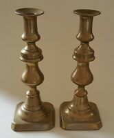 Brass vintage Victorian antique pair of tall square base candlesticks C