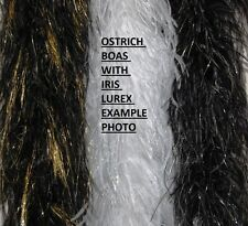 "OSTRICH FEATHER BOA - BLACK w/ SILVER Lurex 4 PLY 72"" (Halloween/Burlesque/Hats)"