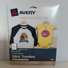 """AVERY 3302 Stretchable Fabric Transfers 8 1/2"""" x 11"""" 5 unprinted sheets"""