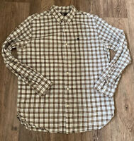Timberland Mens Casual Shirt Cotton Long Sleeved Checked White Brown M