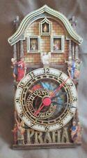 Vintage Tramp Art  3D Carved Layered Wood Czech Praha Clock -Saint Icons