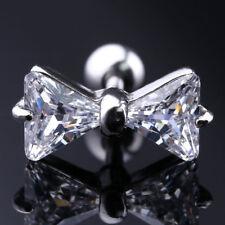 16G Steel CZ Bow Barbell Tragus Cartilage Helix Ear Stud Earring Piercing Gift