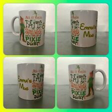 personalised mug cup peter pan quote tinkerbell lost boys never grown up pixie