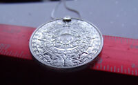 """SILVERED MAYAN CALENDAR PROPHECY PENDANT on a 24""""  18k WHITE GOLD FILLED CHAIN"""