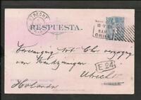 CHILE 1906 PTAL.STATIONARY TO HOLLAND (UTRECHT) W/ADVERT. ON THE BACK HOSPICE
