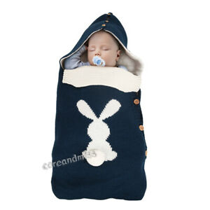 Newborn Baby Stroller Available Portable Knitted Button Bunny Plush Sleeping Bag