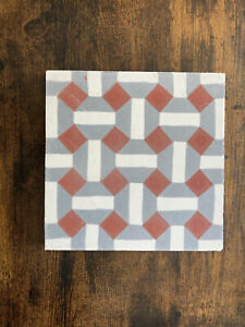 Moroccan Tile House Handmade Painted Cement 8 Inch 8x8 Red White Gray
