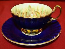 AYNSLEY C1034 COBALT BLUE ORCHARD FRUIT PEDESTAL CUP WITH SAUCER