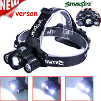 3X T6LED Headlight 90000LM Headlamp Rechargeable Light Flashlight HeadTorch Top