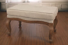 Ex-Display French Provincial Ottoman USA Oak Linen Upholstered American Stool