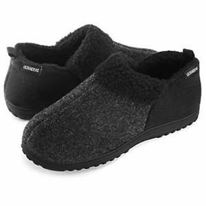 Men's Cozy Memory Foam Wool Blend,Slippers with Warm Fleece Lining, US 11 Grey
